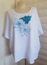 Per Se 3X White Turquoise Blue Sparkly Beads Floral Short Sleeve Tunic Plus Size