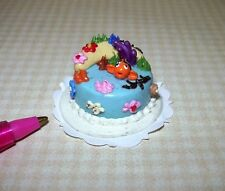 Miniature Ornate Clown Fish Cake w/Blue Icing: DOLLHOUSE 1/12 Scale