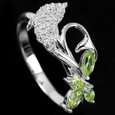 Natural PERIDOT Birthstone & CUBIC ZIRCONIA 925 STERLING SILVER Dolphin RING 8.0