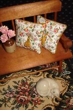"""Lot of 2 - Pillows Doll House 1 :12 Scale -Tiny Pink & Yellow Rosebuds 1 1/2 """""""