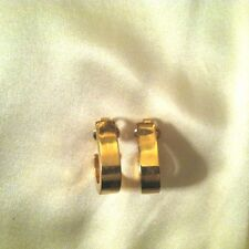 Crown Trifari Gold Tone Chunky Oval Hoop Clip Earrings