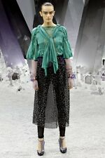 CHANEL 12A Vert Green 3/4 Sleeve Sheer Chiffon Pleated Blouse Top Scarf 36 $3900