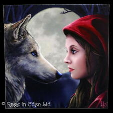 *MOONSTRUCK* Red Riding Hood Wolf Art Stretched Canvas By Lisa Parker (28x28cm)