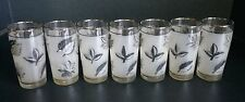 Vintage Mid Century Libbey Frosted Silver Foliage Set of 7 Juice Glasses