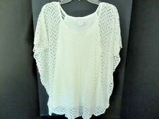 Brittany Black White Open Crochet Lined Batwing Tunic Top Casually Elegant Sz M