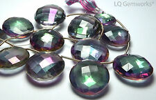 MYSTICAL RAINBOW QUARTZ 20-22mm Faceted Coin Focal Bead