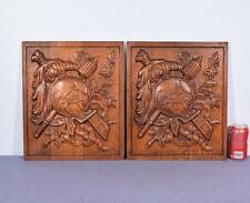 *Pair of Vintage French Carved Solid Oak Panels Arts Themed with Centaur 3