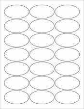 "6 SHEETS 1-3/8x2-1/2 INCH OVAL BLANK WHITE STICKERS~8-1/2""x11 Label sheets"