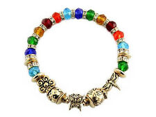 Multi-Colored Crystal Beaded Stretch Bracelet With Gold Toned Butterfly Charms
