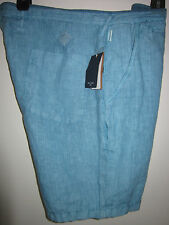 NWT PSJ PAUL SMITH Jeans Shorts Button Fly Turquoise Linen Sz 36 $225