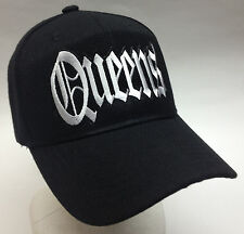 Queens New York City Hat Baseball Cap Black and White