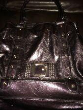 EUC Lot Of 2 Guess Purses Deep PURPLE METALLIC & Black Drawstring Faux Leather