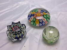 3 Vintage Multi-Colored Glass Paperweight Lot - 2 MILLEFIORI, 1 Flower, Small