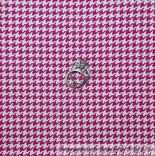 BonEful Fabric FQ Cotton Quilt VTG White Pink Fuchsia Gingham Check Houndstooth