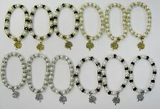 Wholesale 12 PCS Crystal Pearl Stretch Tree Of Life Charm Bracelets  # 24485