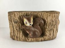 Squirrel in Tree Log Ceramic VTG Planter
