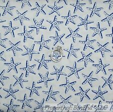 BonEful Fabric FQ Cotton Quilt White Blue Sea L Star Fish Dot Beach Ocean Calico