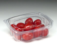 100 X 375cc CLEAR PLASTIC DISPOSABLE SALAD BOWLS CONTAINER WITH HINGED LIDS