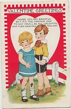 VALENTINE'S DAY Love Postcard Holiday Greetings 1936 Boy Girl Bashful 156