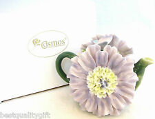 COLLECT. PORCELAIN DAHLIA FLOWER GREEN & PURPLE TEAPOT,TEA POT-8 OZ- NEW IN BOX