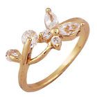 Butterfly leaf Swarovski Crystal adjustable Ring 18K Yellow Gold Plated Size6.5