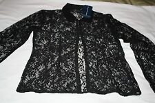 Womens Ralph Lauren Black Lace Long Sleeve Shirt/Blouse Size M $298 Retail