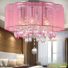 New Drum Shade Pink Crystal LED Ceiling lights Chandelier Pendant lamp Lighting