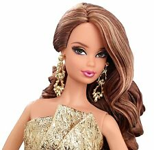 Barbie The Look City Shine Gold Dress Doll Black Label 2014 CFP36