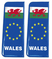 2x Wales EU Blue - Gel Domed Number Plate Badges/Decals 107x42mm