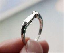 Bonito de chica' cristal tono plata ojo pez anillo, Talla L