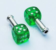 Trik Topz DICE bicycle brake cable end tips crimps (PAIR) CLEAR GREEN w/ WHITE