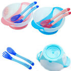 Baby Learnning Dishes With Suction Cup Assist Food Bowl Changing Color Spoon Set
