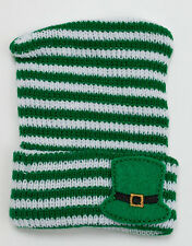 Green and White Knit Newborn Hospital Hat w/ Leprechaun Hat - Photo Prop Irish