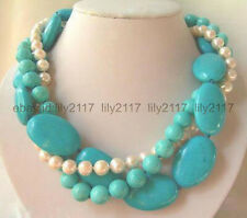 18 inch 3Rows 7-8mm Natural White Pearl & Turquoise Jewelry Necklaces