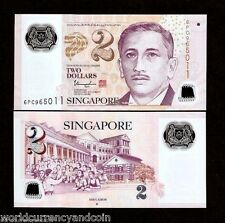 SINGAPORE 2 Dollars 2015-2016 POLYMER Single STAR UNC CURRENCY MONEY BANK NOTE