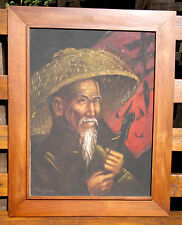 "Chinese Portrait Oil Painting on Canvas by Tom Wong 23.5"" by 29.5"""