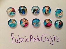 20 DISNEY FROZEN CABOCHONS 10MM- RESIN/FLATBACK/CRAFT/JEWEL GEMS-ELSA-OLAF-NEW