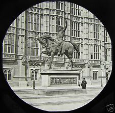 Glass Magic Lantern Slide STATUE OF KING RICHARD & PARLIMENT LONDON C1890