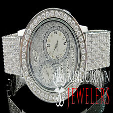 MENS WHITE KHRONOS DUAL TIME ZONE DIAL REAL DIAMOND CUSTOM STAINLESS STEEL WATCH