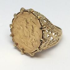 9ct Gold Half Sovereign Ring - Size P/Q