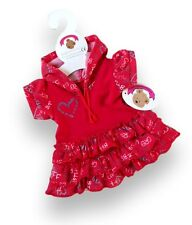 Teddy Bear Clothes fit Build a Bear Teddies Red Hooded Dress BFF Pattern New