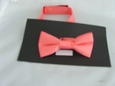 NEW   Coral-Salmon Polyester BOYS Ready Pre-tied Bow tie   P&P 2UK   1st Class