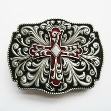 Celtic Cross Flowers Western Enamel Color Belt Buckle