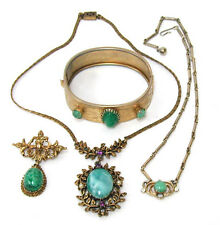 Vintage Lot Clasp Bracelet Dangle Brooch 2 Necklaces Green Peking Givre Scarab G