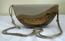 Vintage Bags By Varon Taupe Half Moon Shoulder Bag /Clutch With Snakeskin Accent