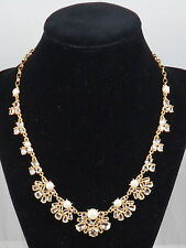 Kate Spade Gold POSY PETALS Faux Pearl Crystal Cluster Collar Necklace WBRUD144
