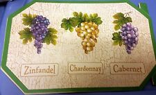 """RARE Set of 2 Kitchen Vinyl NON CLEAR Placemats (18"""" x 12"""") TYPES of GRAPES"""