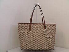 NWT AUTH MICHAEL KORS EMRY LARGE TOP ZIP SIGNATURE TOTE-$328-NATURAL/LUGGAGE