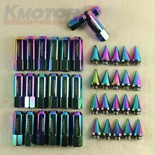 Neo Chrome 20 M12X1.5 Cap Spiked Extended Tuner 60mm Aluminum Wheels Rim Lug Nut