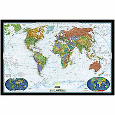 WORLD Wall Political Map Poster DECORATOR National Geographic Paper
